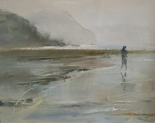 British School - 20th century Acrylic on canvas board Coastal scene with figure, 18 x 22cm