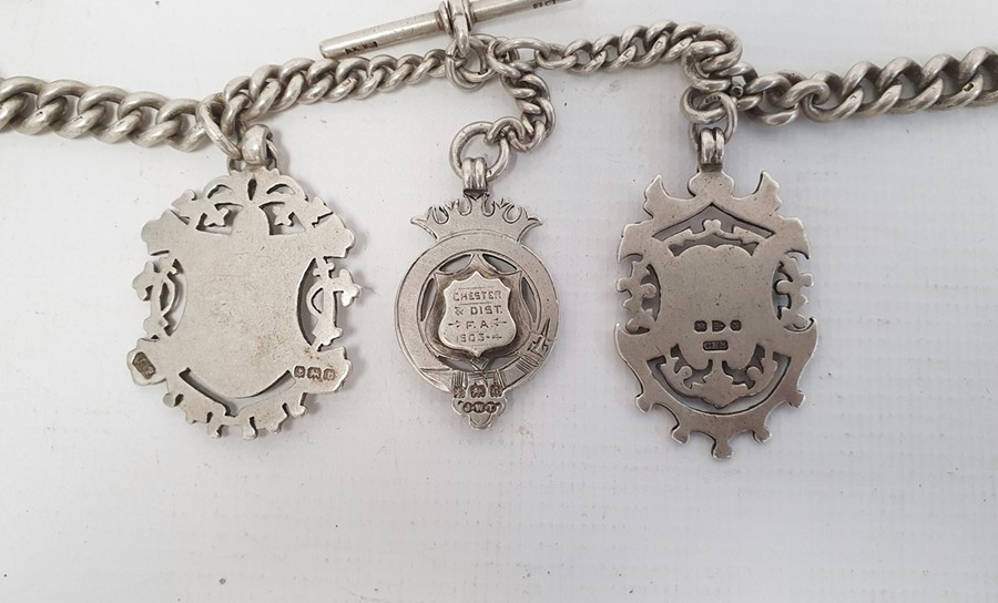 Quantity of silver curb link watch chains, some hung with silver fobs, a silver curb link bracelet - Image 4 of 27