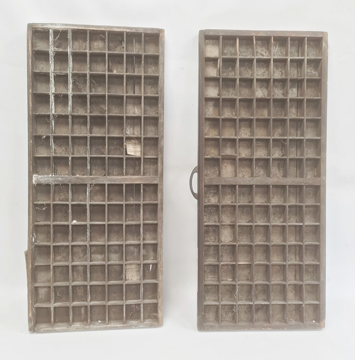Two old wooden printer's trays