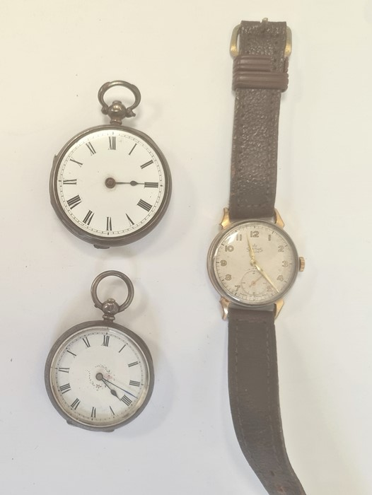 Smiths Deluxe gentleman's gilt metal strap watchwith subsidiary seconds dial, a silver open faced