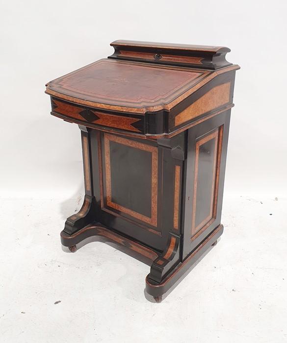 Partly ebonised burrwood 19th century Davenport deskwith leather inset to the slope, 57cm x 90cm