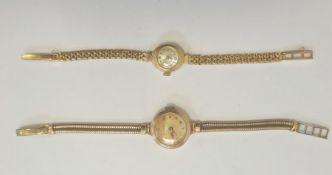 Lady's 9ct gold Audax bracelet watch, on gold-plated snake bracelet and a lady's 9ct gold Olvino