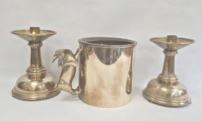 Heavy cylindrical brass pot with antelope pattern handle and a pair heavy brass low table