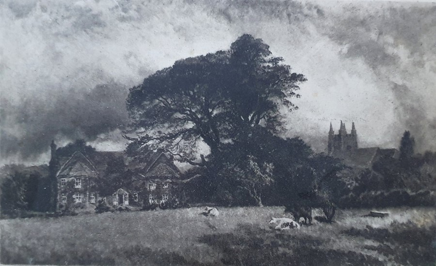 """After Alfred Dawson (1843 - 1931, c Etching """"Country houses, trees, cows"""", signed in pencil lower - Image 2 of 11"""