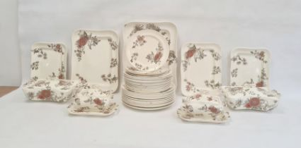 Extensive Victorian pottery part dinner service'Overton' pattern, decorated in orange and sepia,