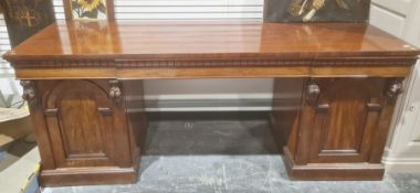 19th century mahogany pedestal sideboardthe rectangular top with three drawers, on pedestal