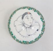 Late 20th century glass paperweight with clown decoration