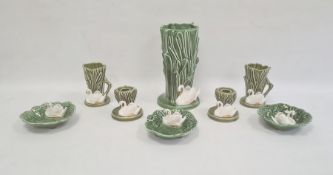 Quantity Sylvac pottery, impressed marks, pattern no.4524, comprising reed and swan moulded set of