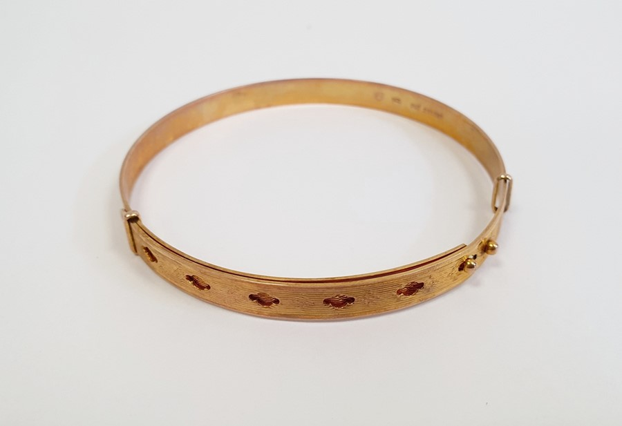 Gold adjustable belt bangle, with diamond-shaped decoration, approx. 14g - Image 4 of 4