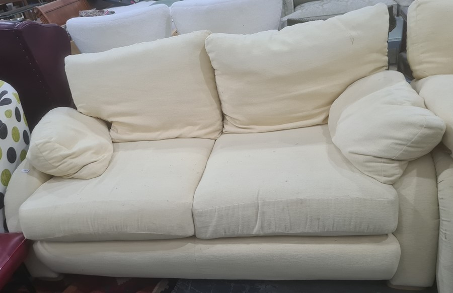 Modern three-seater and two-seater sofas in pale yellow upholstery - Image 2 of 2