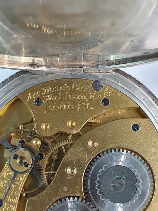 Silver open-faced pocket watch, the enamel dial with subsidiary seconds dial (glass broken), a - Image 17 of 19