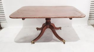 19th century mahogany pedestal table, the rectangular top with rounded corners, rosewood banded,