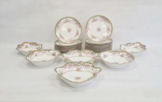 Limoges dessert service viz:- 16 plates, two heart-shaped serving dishes, two oval serving dishes