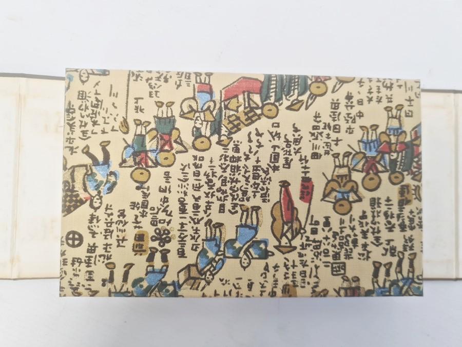 "Hiroshige, Ichiryusai, a miniature book, ""The Tokaido Fifty Three Stations"", folding out to reveal"