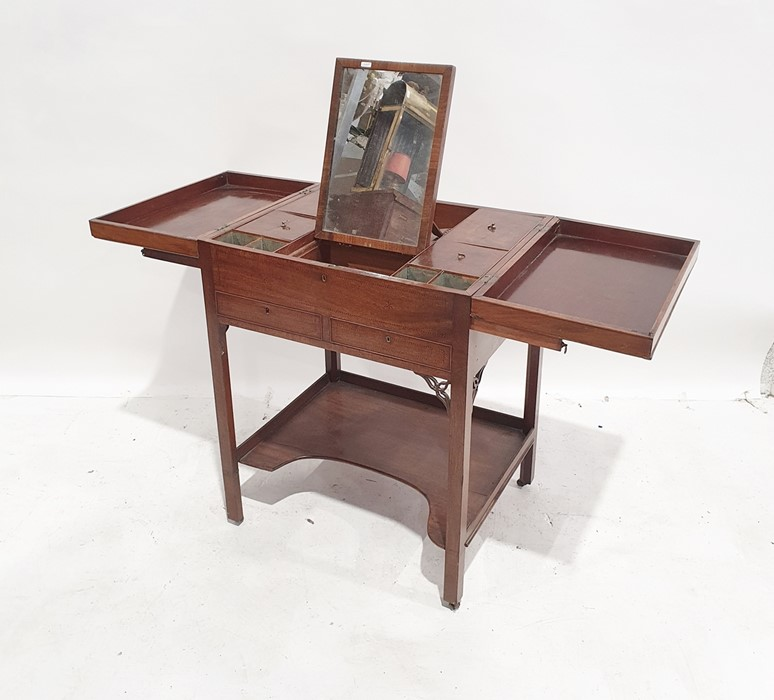 19th century mahogany barber's shop strung star inlaid folding dressing table, the two foldout flaps - Image 2 of 2