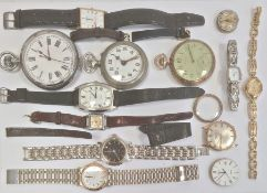 Gentleman's gilt metal Lassalle strap watchwith rectangular dial, a large chrome open faced