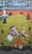 Persian miniature watercolour drawing with battle scene beside a river, one mounted figure, 24 x
