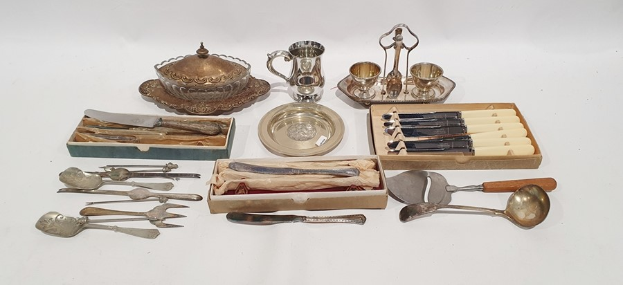 Quantity of plated ware, various flatwareand serving dishes(1 box) - Image 2 of 2