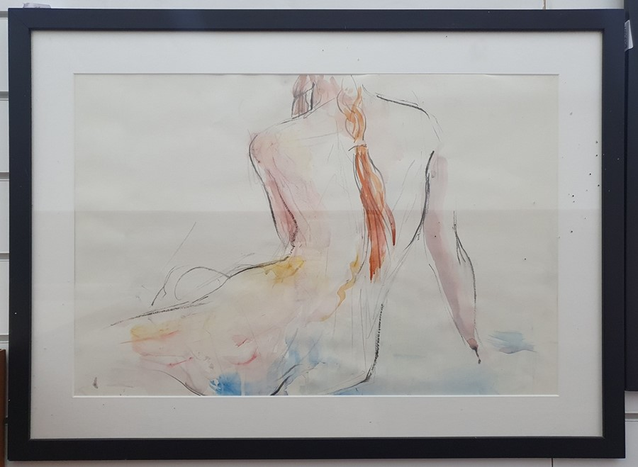 """Richard O'Connell British 21st century Pencil and coloured wash """"Elaine"""", titled and dated in - Image 6 of 8"""