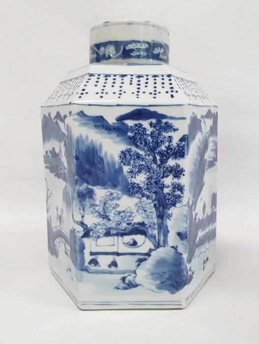 Chinese porcelain hexagonal jar and cover, underglaze blue decoration of lakeside landscape - Image 7 of 25