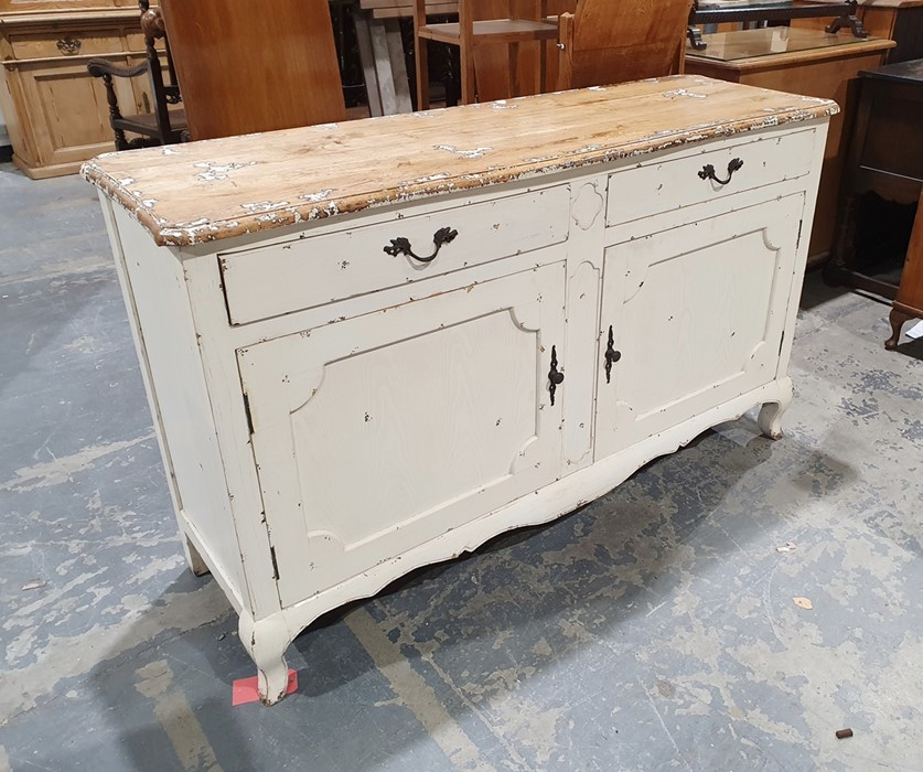 Modern sideboardin the shabby chic taste, the oak top on cream painted base with two drawers, two