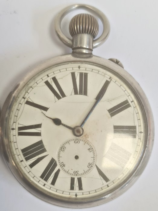Silver open-faced pocket watch, the enamel dial with subsidiary seconds dial (glass broken), a - Image 3 of 19