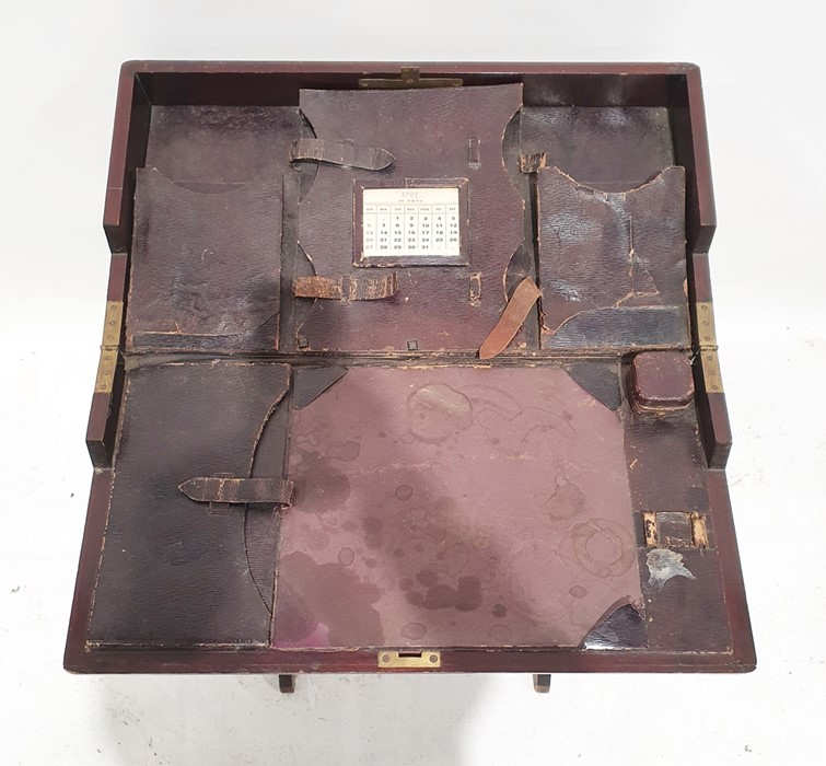Possibly late 19th century travelling folding writing tablewith fitted interior, folding base - Image 3 of 3
