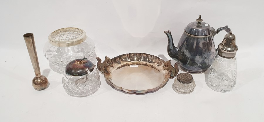 Assorted teaspoons, glass and silver plated sugar sifter, teapot, jam pot and other items (1 box)