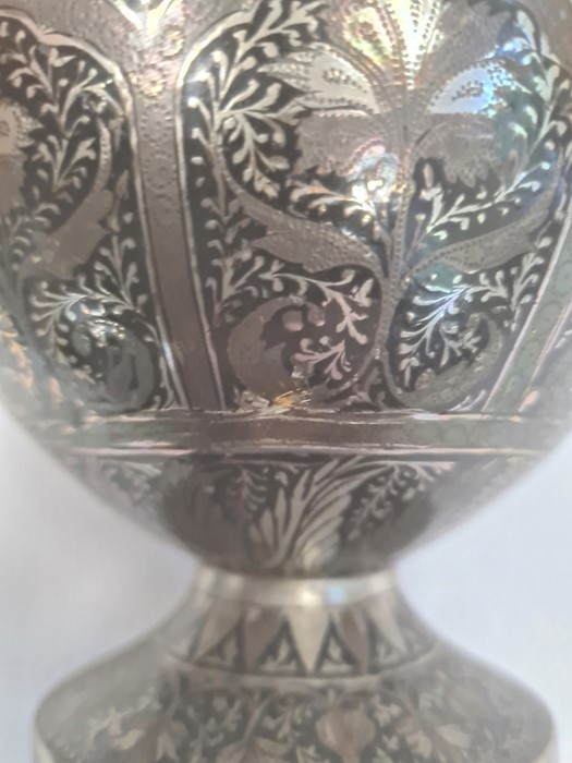 Persian silver and copper inlaid bottle vase with all-over formal foliate and anthemion decoration - Image 6 of 6