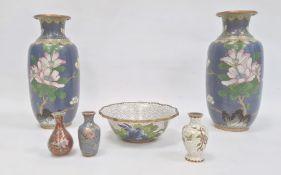 Pair Japanese cloisonnéenamel vases of rouleau form, flowering peony on a blue enamel and cloud