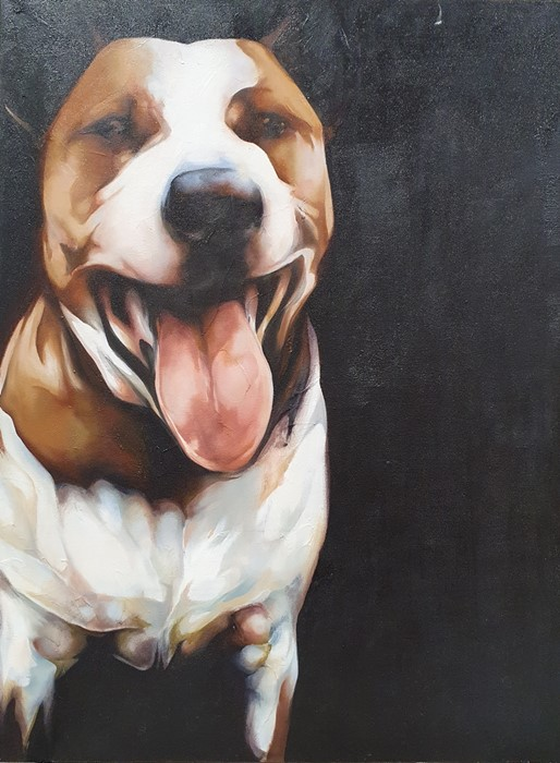 "Bex Barton (21st century) Oils on canvas ""Henry"", 102cm x 76cm (unframed) Greyhound head, 61cm x"