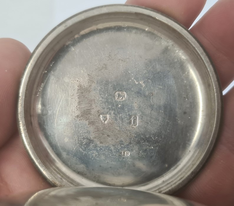 Silver open-faced pocket watch, the silver dial with Roman numerals and subsidiary seconds dial - Image 5 of 5