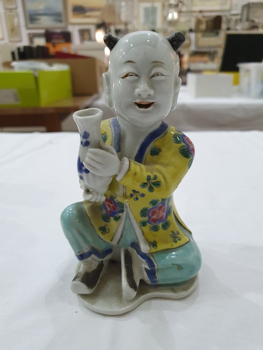 Pair of Chinese porcelain seated figures, laughing boys, each holding a blue and white vase, 16cm - Image 12 of 26