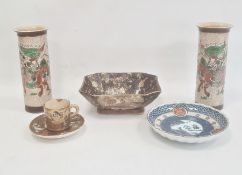 Japanese Satsuma earthenware coffee can and saucerdecorated with deities, Japanese porcelain saucer