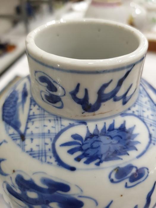 Chinese porcelain hexagonal jar and cover, underglaze blue decoration of lakeside landscape - Image 22 of 25