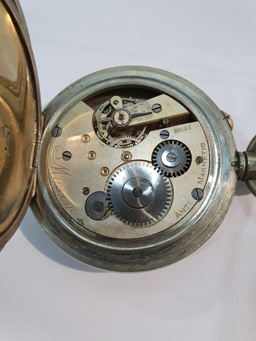 Silver open-faced pocket watch, the enamel dial with subsidiary seconds dial (glass broken), a - Image 10 of 19