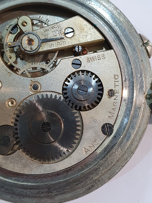 Silver open-faced pocket watch, the enamel dial with subsidiary seconds dial (glass broken), a - Image 12 of 19