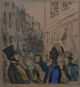 After Honore Victorin Daumier - French late 19th century Pair of coloured lithographs Figures in a