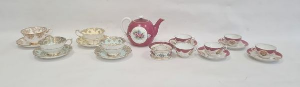 French porcelain inkstand, floral decorated, four cabinet cups and saucersto include Paragon,a