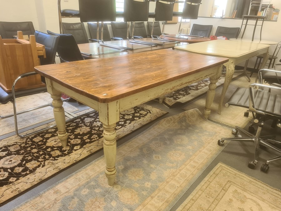 Pine-topped table, the rectangular top with rounded corners, on white painted base with turned legs,
