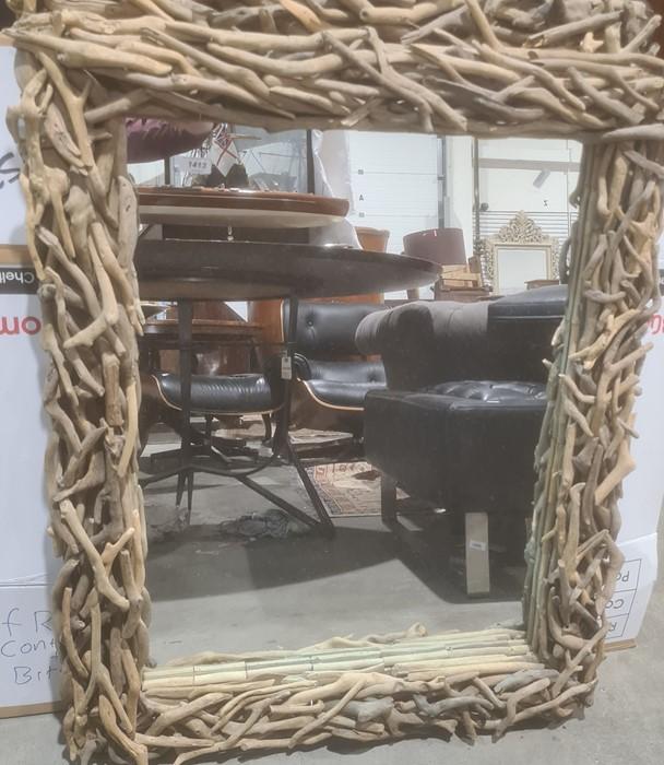 Pair of driftwood-framed rectangular mirrors(2)