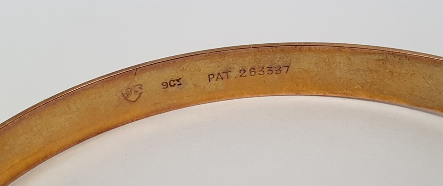 Gold adjustable belt bangle, with diamond-shaped decoration, approx. 14g - Image 3 of 4