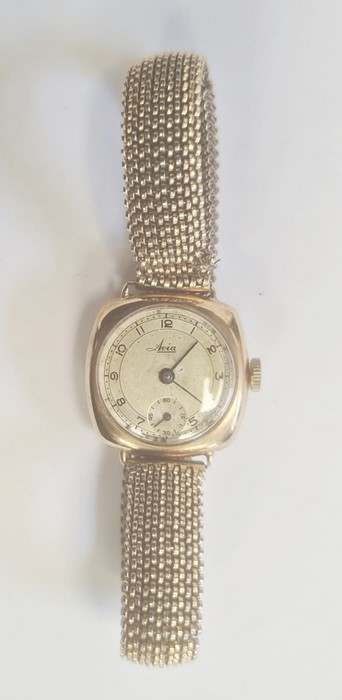 Lady's 9ct gold Avia bracelet watch, the circular dial with arabic numerals and subsidiary seconds