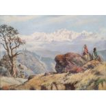 Jimmy Hulbert Oil on canvas board Mountainous scene with terraces and figures seated in the