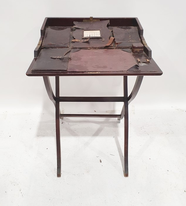 Possibly late 19th century travelling folding writing tablewith fitted interior, folding base - Image 2 of 3