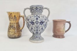 Royal Doulton Queensware tankard with rally on Plymouth Hoe,Doulton Burslem Jacobean pattern ochre