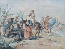British school (19th century) Watercolour Horsemen having a refreshment, signed indistinctly and