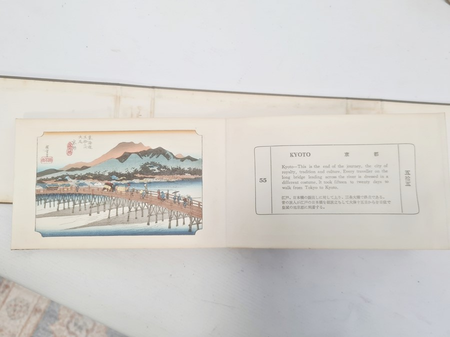 """Hiroshige, Ichiryusai, a miniature book, """"The Tokaido Fifty Three Stations"""", folding out to reveal - Image 2 of 16"""