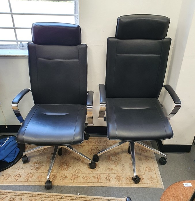 Two office swivel chairson castors by Dauphin (2)