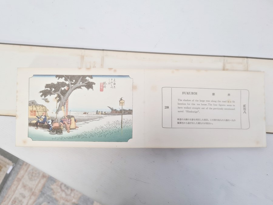 """Hiroshige, Ichiryusai, a miniature book, """"The Tokaido Fifty Three Stations"""", folding out to reveal - Image 11 of 16"""